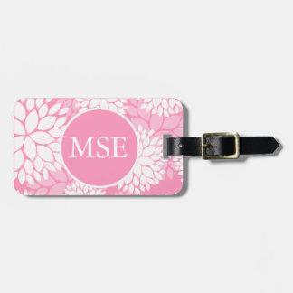 Elegant Pink White Flowers Monogram Luggage Tag