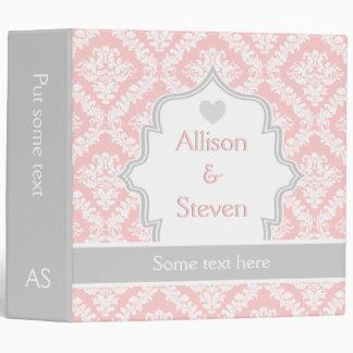 Elegant pink, white, grey damask wedding planner 3 ring binder