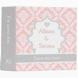 Elegant pink, white, grey damask wedding planner binders