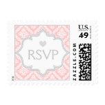 Elegant pink, white, grey damask wedding RSVP Stamp
