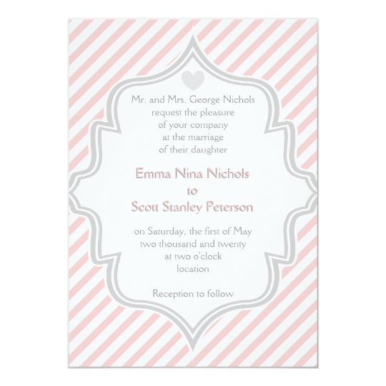 Elegant pink, white, grey stripes wedding card