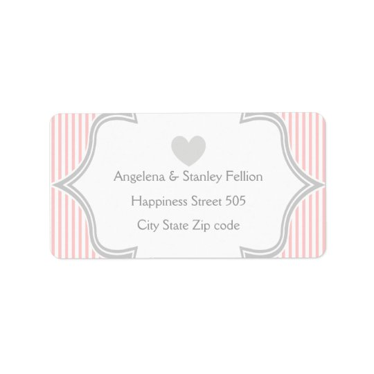 Elegant pink, white, grey stripes wedding label