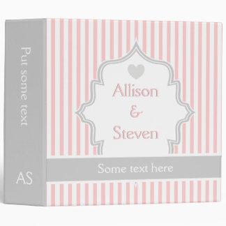 Elegant pink, white, grey stripes wedding planner vinyl binder