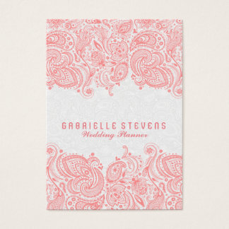 Elegant Pink & White Paisley Lace Wedding Planner Business Card