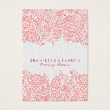 Professional Business Elegant Pink & White Paisley Lace Wedding Planner Business Card