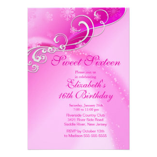 Elegant Pink Winter Sweet Sixteen Birthday Personalized Invitation