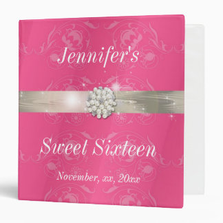 Elegant Pink with Pearls Sweet Sixteen Photo Album Binder
