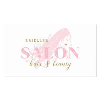 Elegant Pink Woman Long Flowing Curls Hair Salon Business Card