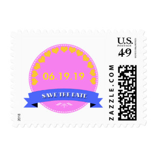 Elegant Pink-Yellow Save the Date Postage Stamp