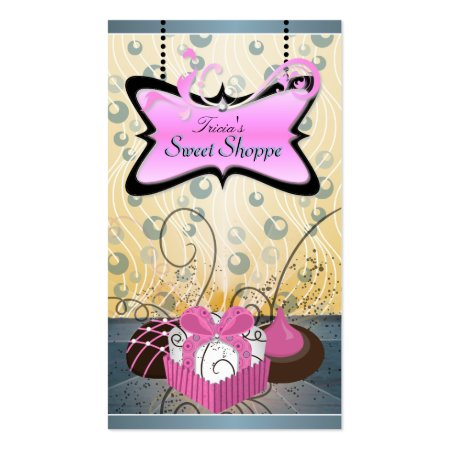 Cakes and Cookies with Pink and Yellow Swirls Sweet Shop Business Cards