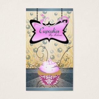 Elegant Pink & Yellow Swirl Cupcake Business Card