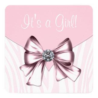 Elegant Pink Zebra Baby Shower Card