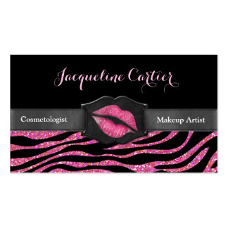 Elegant Pink Zebra Glitter Kiss Cosmetologist Double-Sided Standard Business Cards (Pack Of 100)