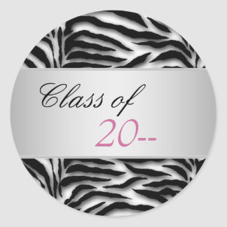 Elegant Pink Zebra Graduation Stickers