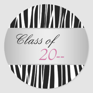 Elegant Pink Zebra Graduation Stickers