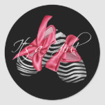 Elegant Pink Zebra Its a Girl Stickers