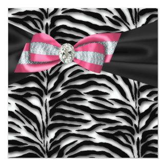 Elegant Pink Zebra Party Invitations