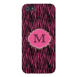 Elegant Pink Zebra Pattern & Monogram Cover For iPhone SE/5/5s