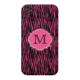 Elegant Pink Zebra Pattern & Monogram iPhone 4 Case
