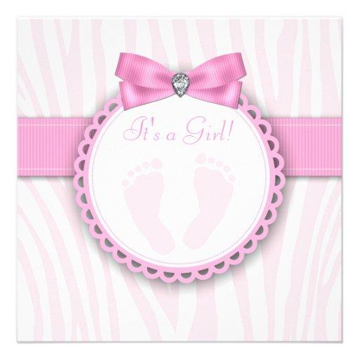 Elegant Pink Zebra Pink Footprint Baby Girl Shower Custom Invitations