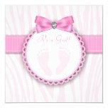 Elegant Pink Zebra Pink Footprint Baby Shower Card