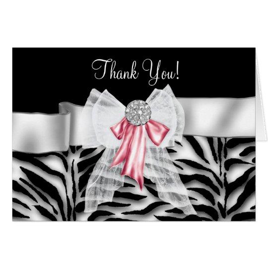 Elegant Pink Zebra Thank You Cards
