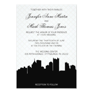 Elegant Pittsburgh Black and White Lace Wedding Card