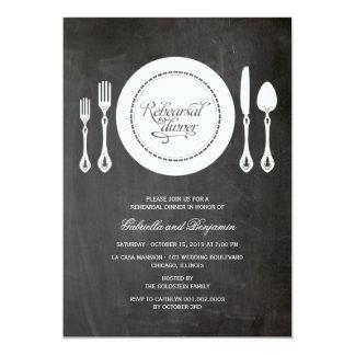 Elegant Place Setting Wedding Rehearsal Dinner Card