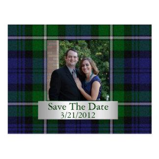 Elegant Plaid Save The Date Postcard