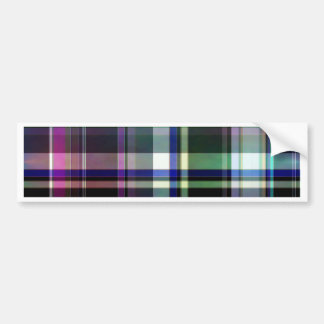 Elegant plaid with colorful stripes bumper sticker