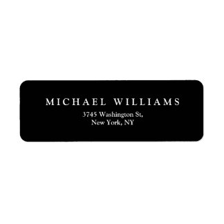 Elegant Plain Black White Minimalist Modern Label