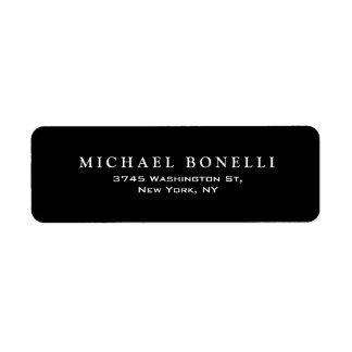 Elegant Plain Black White Return Address Label