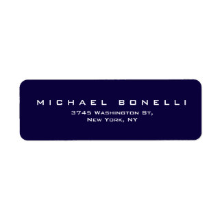Elegant Plain Dark Blue Return Address Label