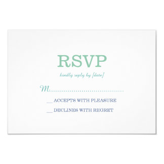 Elegant Plain White Sea Foam RSVP Card
