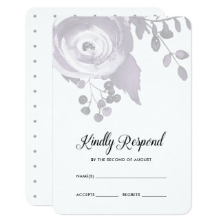 Elegant Plum and Gray Floral Dots Wedding RSVP Card