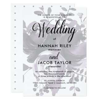 Elegant Plum and Gray with Floral and Dots Wedding Card