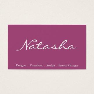 Elegant Plum and White Script Font Business Card