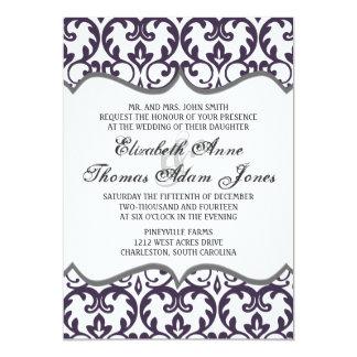 Elegant Plum Damask Heart Wedding Invitation
