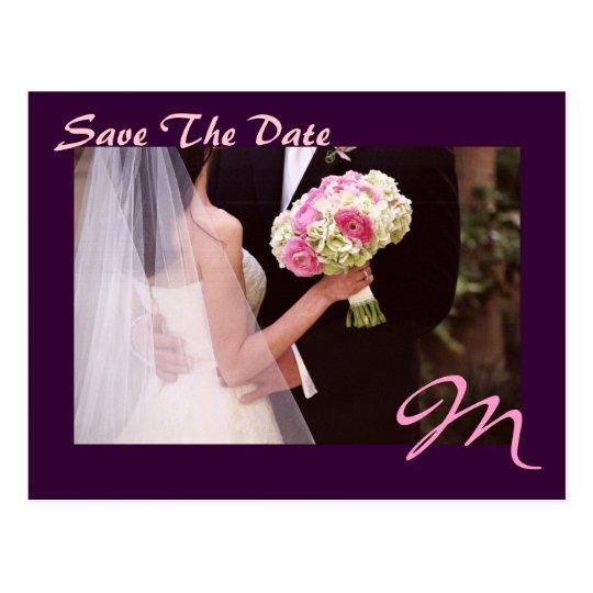 Elegant Plum Monogram Pink Save The Date Postcard