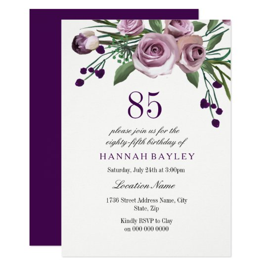 Elegant Plum Purple Rose 85th Birthday Invitation