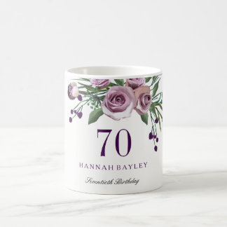 Elegant Plum Purple Rose Floral 70th Birthday Coffee Mug