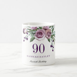 Elegant Plum Purple Rose Floral 90th Birthday Coffee Mug