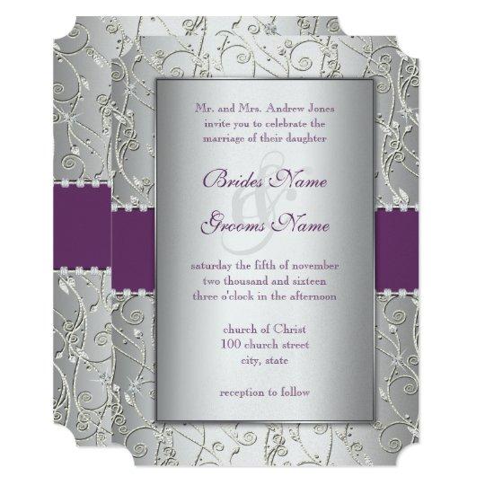 Plum And Silver Wedding Invitations: Elegant String Lights Peach Wedding Invitations