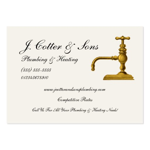 Elegant Plumbing & Heating Services Business Cards