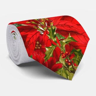 Elegant Poinsettia and Snowflake Holiday Neck Tie