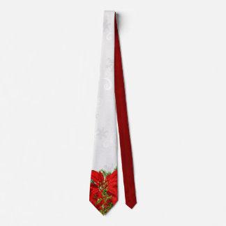 Elegant Poinsettia and Snowflake Holiday Tie