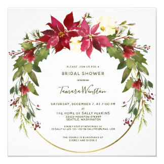 Elegant Poinsettia Floral Christmas Bridal Shower Invitation