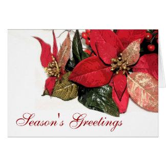 Elegant Poinsettia Seasons Greetings Holiday Card