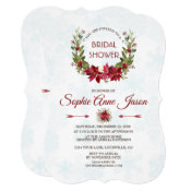 Elegant Poinsettia Winter Wreath Bridal Shower Invitation