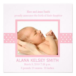 Elegant Polka Dot Birth Announcement (pink)